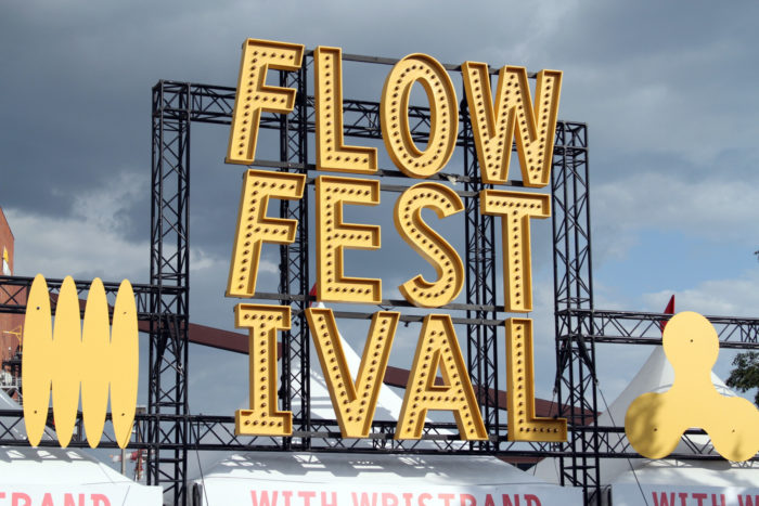 A large sign says Flow Festival.