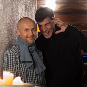 Karri Korppi and Emil Anton pictured in the dimly-lit cellar of restaurant Kappeli.