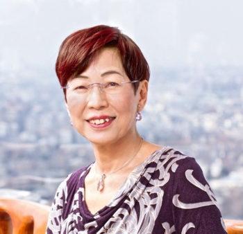 Portrait of a smiling woman, Chizuko Ueno.