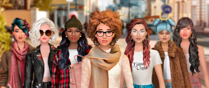 A picture from the game Trendy Stylist shows seven differently styled female characters on a street.
