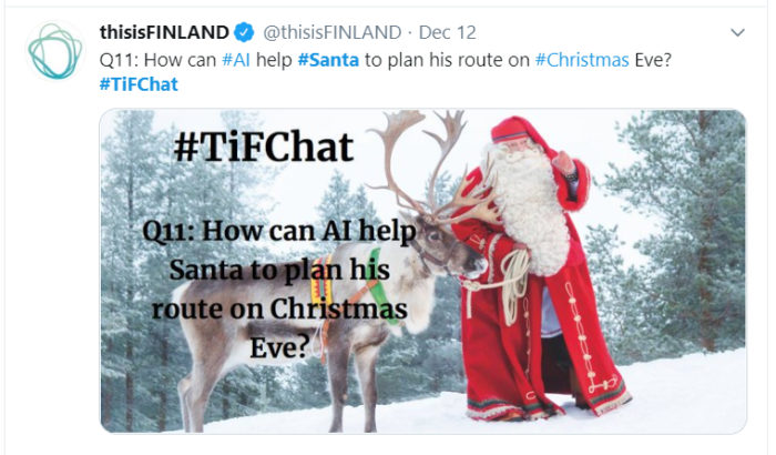 A screenshot from Twitter; Santa Claus in a snowy landscape with one of his reindeer.