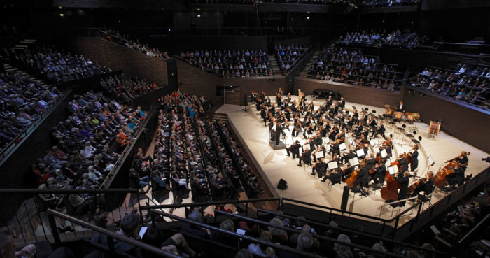 The Helsinki Philharmonic Orchestra plays on the main stage at the Music Centre.