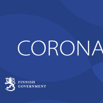 On a deep blue background, the text Coronavirus; in the lower left corner, the text Finnish Government.