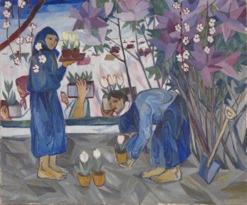 Natalia Goncharova's painting Gardening; Five women carrying flower pots in a garden.