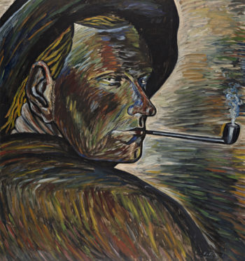 Self-portrait of Vilho Lampi; a silhouette of a man smoking a pipe painted mostly with brown and yellow colours.