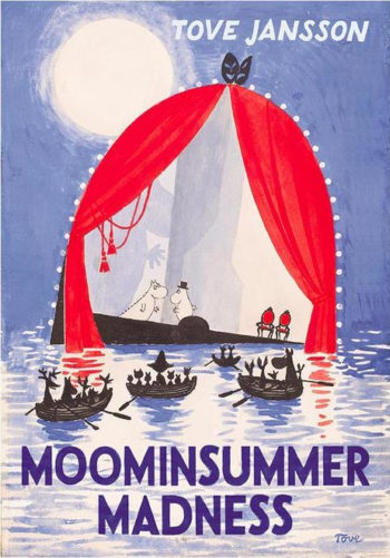 The cover of the book Moominsummer Madness, showing Moomins standing on a floating theatre stage while small creatures in boats  watch them.
