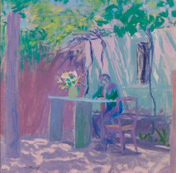 Ellen Thesleff's painting Arbour, in which a person sits at a table under a tree in front of a building.