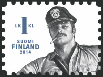A stamp featuring a black and white illustration of a man in a military type hat smoking a cigarette.
