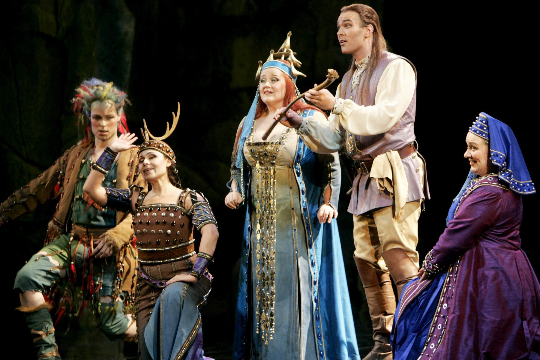 Petrus Schroderus plays Prince Tamino in Mozart's Magic Flute, singing onstage with four other costumed opera singers.