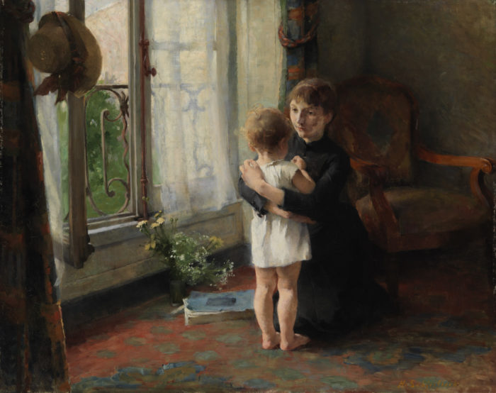 A painting shows a woman embracing a small child on the floor of a room with one window open.