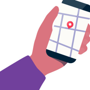 In a cartoonish illustration, a hand holds a mobile phone with a map showing on the screen.