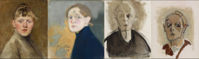 Four paintings in a row show how one woman becomes older, and the painting style also becomes more sparse in line and colour.