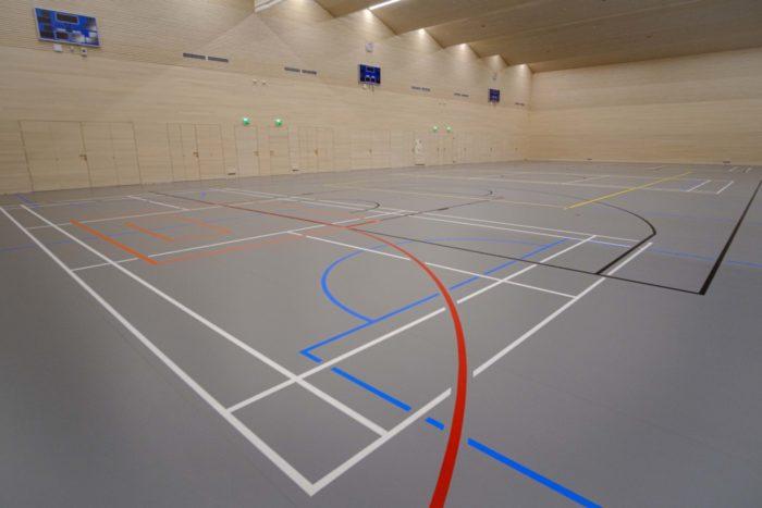 室内体育场的地板上画着不同颜色的线条,可供不同的运动项目之用。