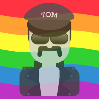 A stylised emoji version of a Tom of Finland drawing, showing a man dressed in a black cap, sunglasses and a black leather jacket.
