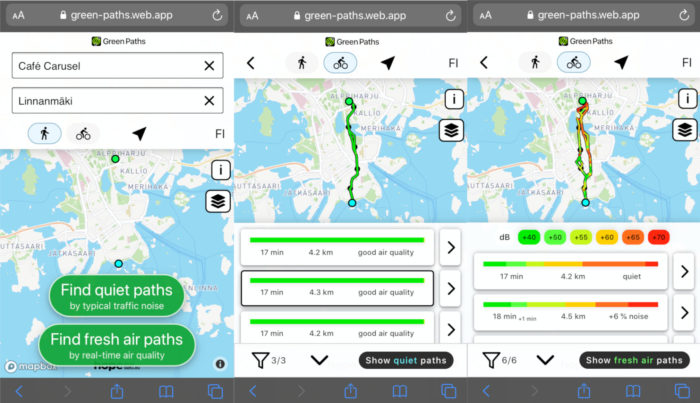 Three screenshots from a smartphone show maps of Helsinki with coloured lines and dots depicting cycling routes.
