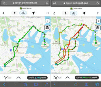 Two screenshots from a smartphone show maps of Helsinki with coloured lines and dots depicting cycling routes.