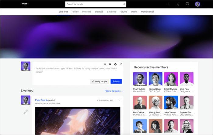 Uma captura de tela do computador mostra várias fotos de perfil, cada uma com um nome, ao lado de uma coluna onde uma delas iniciou uma conversa online.