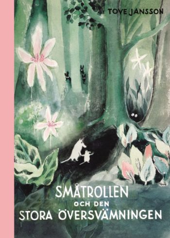 A Moomin book cover with a title in Swedish.