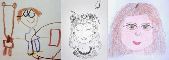 Três retratos diferentes estão enfileirados, em cada um uma mulher desenhada por uma criança.