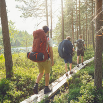 Three hikers with backpacks walk along a forest path next to a body of water.