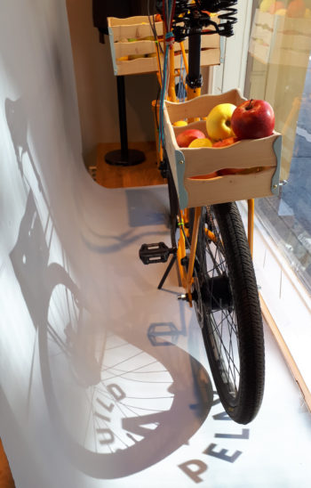 A bicycle stands in a store window.